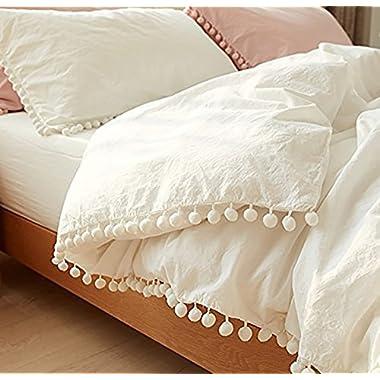 """White Pom Pom Fringed Cotton Cover Full Queen, 86""""x90"""""""
