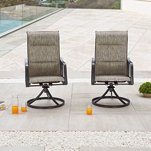 LOKATSE HOME Outdoor Patio Swivel Chair Set Sling(Set of 2), 2, Grey
