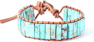 Plumiss Leather Chakra Handmade Imperial Jasper Wrap Adjustable Bead Bracelet