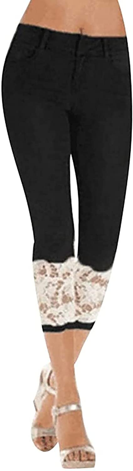 Capri Jeans Lace Skinny Jeans for Women Stretchy Casual Trendy Denim Pants