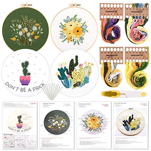 FEPITO 4 juegos con patrón e instrucciones El kit de punto de cruz incluye tela de bordado con patrón floral, aros de bordado, tijeras, kit de aguja de hilos de colores, estilo floral 2