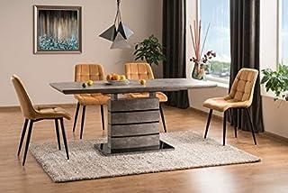 Luenra Leonardo Table à manger (extensible) 140(180) cm x 80 x 76 cm Gris, béton de couleur bois