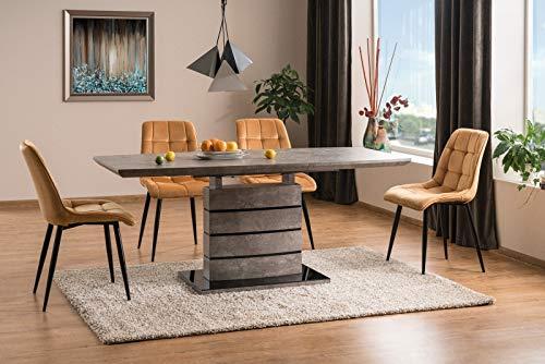 LUENRA LEONARDO Extendable Dining Table Width (Extendeable) 140 (180) cm x 80 cm, MDF Concrete Grey