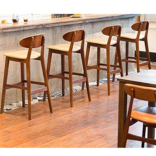 PIVFEDQX Dining Chair Solid Wood Bar Stool Bar Chair High Stool Recliner Bar Chair ZHML (Color : A) (Color : B)