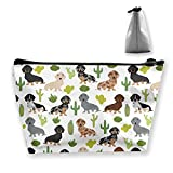 Tropical Dachshund Cosmetic Bag for Women, Roomy Makeup Bags Travel Waterproof Toiletry Accessories Organizer Gifts