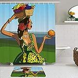 Juegos de Cortinas de baño con alfombras Antideslizantes, Hermosa Mujer Joven Africana en un Vestido Verde con Cesta de Frutas,con 12 Ganchos
