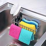 [Folding Design] 3-in-1 Adhesive Kitchen Sink Caddy Sponge Holder + Brush Holder + Dish Cloth Hanger, in Sink Dish Sponge Caddy 304 Stainless Steel Rust Proof Kitchen Organizer Rack Basket