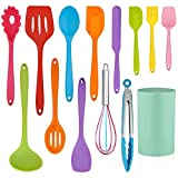 LIANYU 14 Pcs Cooking Utensils Set with Holder, Heat Resistant Silicone Kitchen Cookware Utensils...