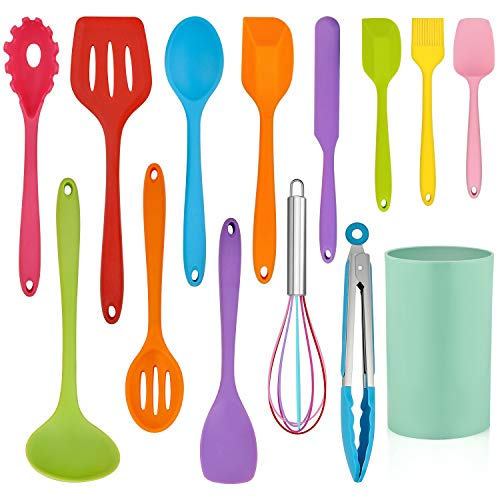 LIANYU 14 Pcs Cooking Utensils Set with Holder, Silicone Kitchen Cookware Utensils Set, Heat Resistant Cooking Gadget Tools Includes Spatula Spoon Turner Whisk Tong, Dishwasher Safe, Colorful