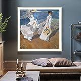 FHGFB DIY「Paseo por la Playa joaquín sorolla」Pintura por números para Adultos Cuadro de Pintura al óleo Hogar Sala de Estar Dormitorio Decoración de Oficina Regalo Sin marco60x60cm