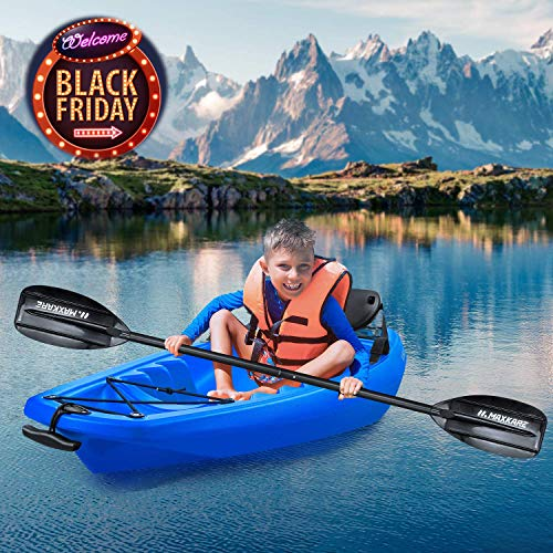 MaxKare Kids Kayak Four Seasons Blue Kayak with Foldable Back Rest, Cup Holders, Front & Rear Storage Hatches, Paddle, 6.1' Feet, 3 footrest Positions, Ages Years 5 and up,Weight Capacity of 121 lbs