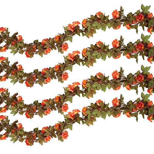 Pauwer 4 PCS/29.5FT Künstliche Rosengirlande Gefälschte Rosen Rebe Hängende Blumen Girlande Seidenblumen Reben für die Heim Garten Wände Hochzeit Dekoration