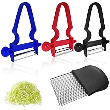 3 pcs Vegetable Peelers with Crinkle Wavy Chopper FineGood Stainless Steel Blade Potato Peeler with French Fries Chips Fruit Chopping Knives