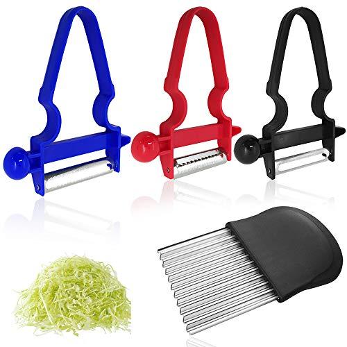 FineGood 3 peladores Maggic Trio con cortador ondulado, trío pelador de hoja de acero inoxidable con patatas fritas fritas fritas, cuchillos de corte de frutas