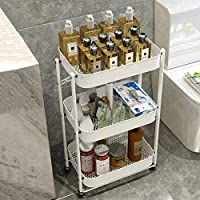 H.ZHOU ユーティリティカート、キッチンバスルーム収納ラックビューティーサロントロリーパッドのツールトロリーヘアマニキュアモバイル3層貯蔵トロリーラック 収納カート (Color : White)