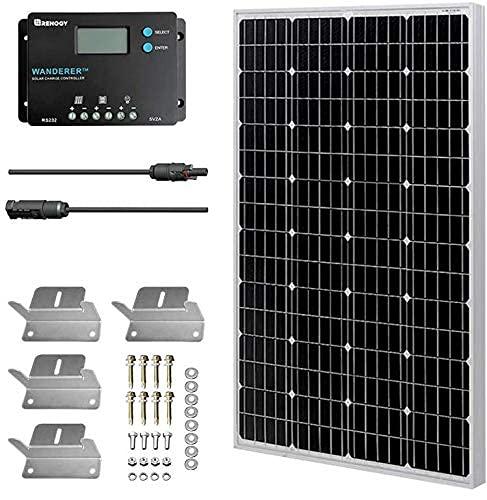 HQST Kit Panel Solar monocristalino 100W 12V regulador renogy 10A Placa para Caravana Autocaravana Furgoneta Camping