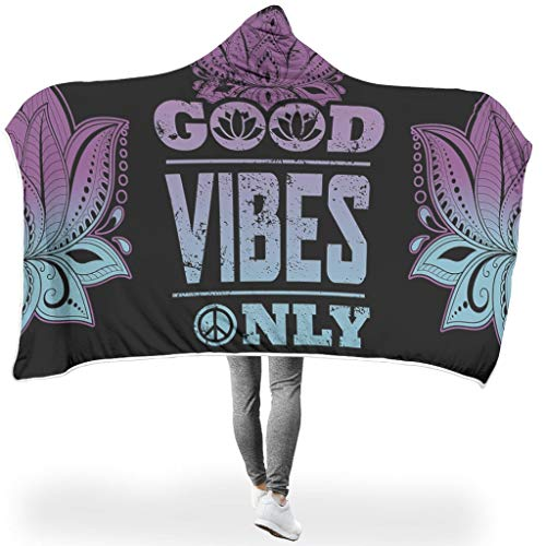 O1FHW-8 vleermuisdeken Good Vibe Only Hoodie blanket patroon print microvezel vrije tijd dragen deken robe - zeer geschikt voor slaapbank gebruik