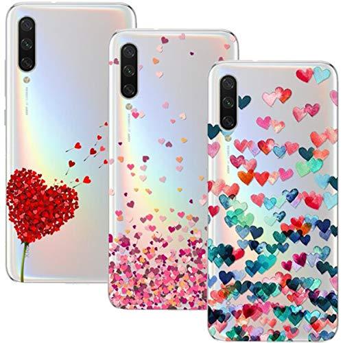 Young & Ming Coque pour Xiaomi Mi A3,3 Pack Transparent Housse TPU Silicone Coque de Protection pour Xiaomi Mi A3,Cœur