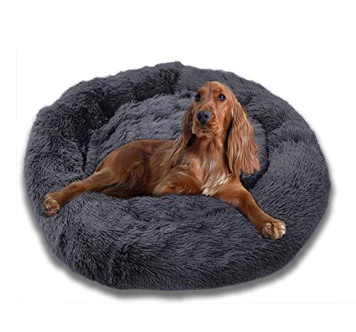 Cama redonda para mascotas, mullida y calmante de felpa, perrera de nido de lujo, sofá para mascotas y gatos, suave y cómodo, para perro extra grande, gris oscuro, XXXL: 120 cm
