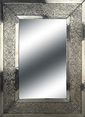 MAISON ANDALUZ Grande Rettangolare, Colore: Argento a Specchio con Inserto - martellamento- 70 x 50 cm-