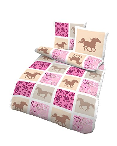 Träumschön Pferdebettwäsche Mädchen | 135x200 Bettwäsche Kinder | Bettwäsche mit Pferdemotiv aus 100% Baumwolle | Biber Bettwäsche 2 teilig