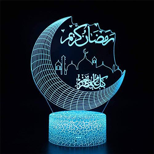 N/U Eid Mubarak Ramadan LED Lámpara de madera, Ramadan Mubarak, Lámpara de mesa 3D Escritorio LED Ramadán Decoración Luz, Luna Islámica Decoración Lámpara de aceite perfumada, Decoraciones musulmanas