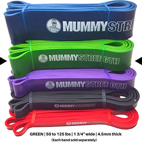 MummyStrength Resistance Bands for Men and Women. The Best Stretch Band for Pull Up Exercise and Powerlifting. Works with Any Pull Up Bar or Station. Single Band. Workout Guide Included - Green