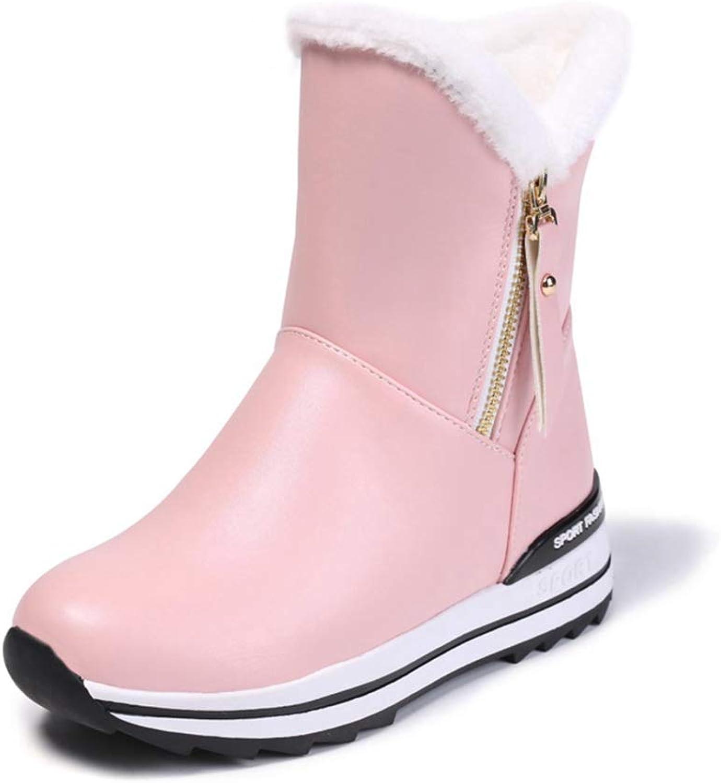 GIY Women's Warm Fur Platform Snow Boots Winter Waterproof Leather Short Boots Casual Hidden High Heel Wedge Ankle Boots