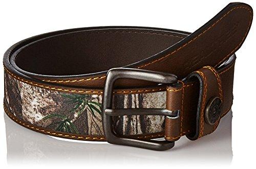 Real Tree Men's Leather Comfort Casual Belt, Brown/Camo, 38-40