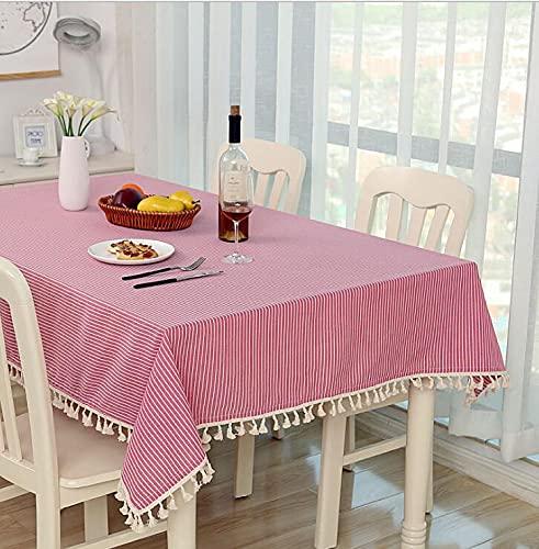 Mantel de Tela de algodón y Lino, pequeña Mesa Redonda Fresca y café, hogar, Rectangular, Cubierta de Mesa de jardín M 140x240cm