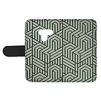 スマQ LG K50 802LG 国内生産 カード スマホケース 手帳型 LG エルジー エルジー ケーフィフティー 【B.グリーン】 トリックアート風 シンプル ami_vd-0274