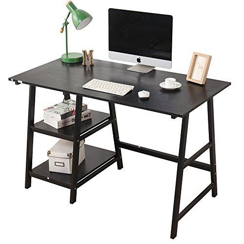 soges 120 × 60 × 75 cm Escritorio de la computadora Escritorio de Caballete Escritura Escritorio de la Oficina doméstica Estación de Trabajo con Estante, Negro,Tplus-BK