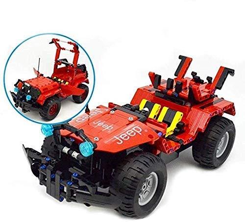 ZHWDD RC Car 2 en 1 531PCS Remoto Control de Incorporando Aprendizaje Todoterreno Jeep Bloques eléctricos Educación de Bricolaje Kit for niños de cumpleaños hefeide