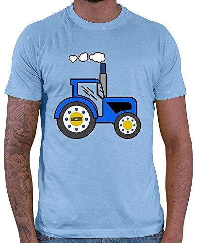 HARIZ  Herren T-Shirt Blauer Traktor Auto Polizei Inkl. Geschenk Karte Himmel Blau 3XL