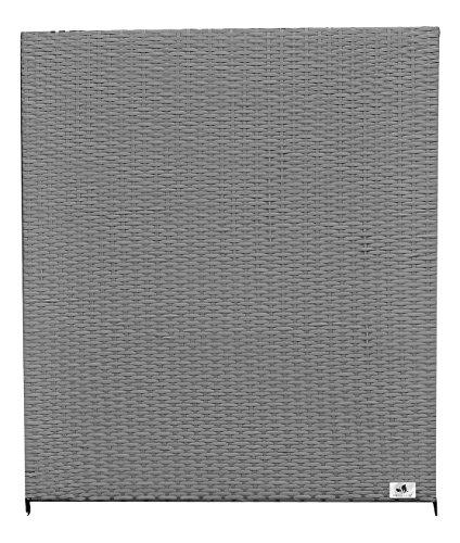 Gartenfreude Zaun, Polyrattan Element Alu Rahmen, wetterfest, zweiseitig geflochten, grau, 80x4x90 cm, 2550-1007-056