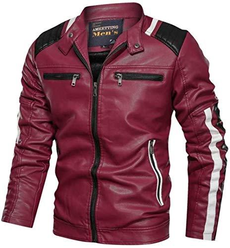 Jaqueta masculina de couro macio real antigo combinando vintage color block casual masculina P jaqueta de couro com zíper estilo motociclista vermelho _ 4GG Baifantastic