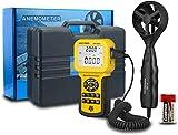 Anemómetro digital de mano CFM Anemómetro HVAC medidor de velocidad del viento con retroiluminación Max/Min/Avg para medir la velocidad del viento,velocidad del aire,temperatura del flujo de aire