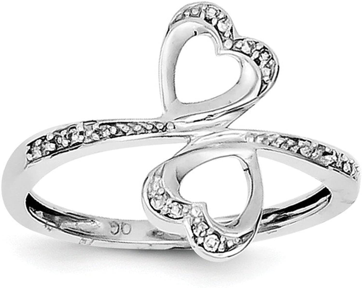 925 Sterling Silver Diamond Heart Ring (0.04 ct)