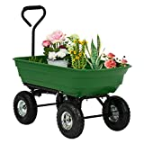Kintness Garden Dump Cart Utility Yard Outdoor Wagon Carrier Trolley Tool with Steel Frame and Pneumatic Tires 600-Pound Capacity Green