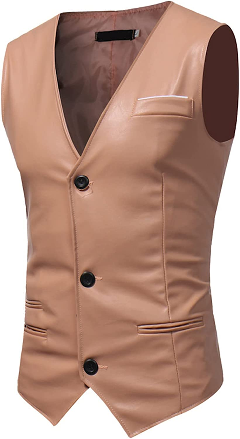 Mens Waistcoat,Business Gentleman Solid Color PU Leather Slim Waistcoats,Fashion All-Match Leather Vest