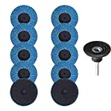 Saiper 10pcs 2 Inch 80 Grit Roloc Roll Lock Flap Sanding Disc Quick Change Zirconia Alumina Grinding Wheels with 1/4' Shank Pad Holder for Rotary Tools Die Grinder Polishing Metal Iron Rust Removal