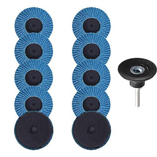 Saiper - Discos de lija de 2 pulgadas de grano 80 con soporte de vástago de 1/4 pulgadas para herramientas giratorias, pulido, metal, hierro, eliminación de óxido