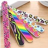 HaBirsZm 5pc / Lote Archivo de uñas de Colorido Colorido Impreso imprimido de Doble Cara de uñas Manicure Sanding Filmer Grits 100/180 Herramientas de uñas