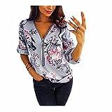 N\P Cremallera con cuello en V más el tamaño Tops de trabajo de las mujeres Blusas de algodón Fit Floral Print Camisas
