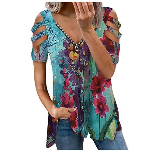 Damen Tshirt Blusen Elegante Reißverschluss Langarmshirts Bluse Tunika Oberteile T-Shirt V-Ausschnitt Tops Damen T-Shirt Sommer Tunika Lose Oberteil V-Ausschnitt Tops Tops