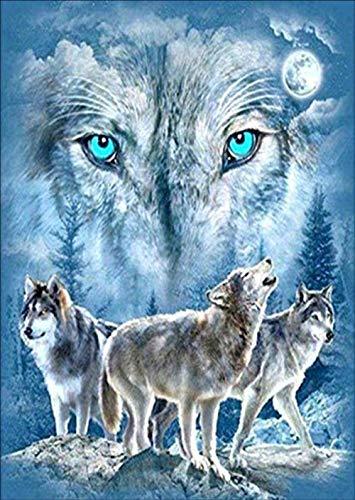 Kit de pintura de diamantes 5D para manualidades,DIY pintura al oleo por numeros diseño de lobo y diamantes de imitación,cuadros punto de cruz kit 30 x 40 cm