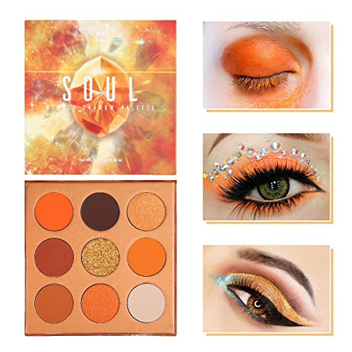 Docolor Eyeshadow Palette 9 Colors Gemstone Shadow Palette Highly Pigmented Mattes Shimmers Naked Smokey Glitter Cream Colorful Powder Blendable Long Lasting Waterproof Makeup Palette-Orange