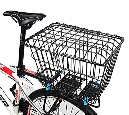 WYZQ Bike Basket with Lid, Enlarge The Basket with Rear Cover Thicken The Mountain Bike Basket Student Bicycle Rear Basket Bicycle Rear Seat,Hydration Packs