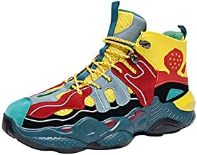Mens High Tops Basketball Sneakers Athletic Trainers Shoes Professional Anti-Skid & Durable for Indoors & Outdoors Yellow