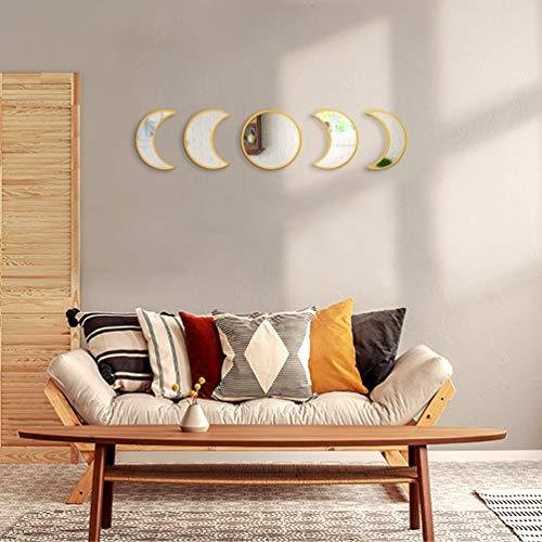 Juego de Espejos de Fase Lunar de Cristal decoración Natural escandinava, decoración Bohemia, decoración de Pared, Espejo de Luna Bohemia